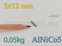 AlNiCo magnet - Silinder 3x12mm [alnico5]