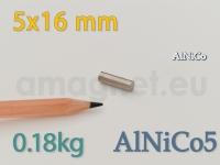 AlNiCo magnet - Silinder 5x16mm [alnico5]