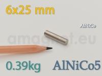 AlNiCo magnet - Silinder 6x25mm [alnico5]