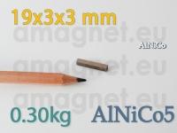 AlNiCo magnet - Plokk 19x3x3mm [alnico5]