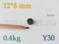 Ferriit magnet - Ketas 12x6mm [Y30]