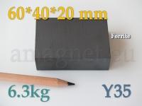 Ferriit magnet - Plokk 60x40x20mm [Y35]