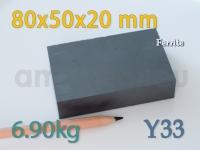 Ferriit magnet - Plokk 80x50x20mm [Y33]