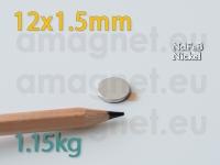 Liimiga neodüümmagnet Ketas 12x1,5mm -N