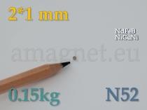 Neodüümmagnet - Ketas 2 * 1mm [N52]