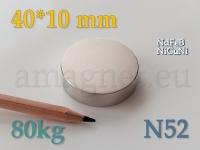 Neodüümmagnet - Ketas 40 * 10mm [N45]