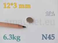 Neodüümmagnet - Ketas 12 * 3mm [N45]