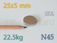 Neodüümmagnet - Ketas 25 * 5mm [N45]