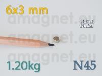 Neodüümmagnet - Ketas 6x3mm [N45]