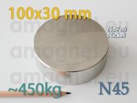 Neodüümmagnet - Ketas 100 * 30mm [N45]