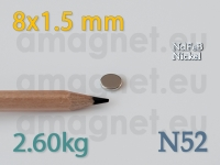 Neodüümmagnet - Ketas 8x1.5mm [N52]