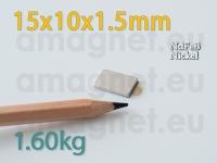 Liimiga neodüümmagnet Plokk 15x10x1.5mm -S