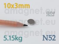 Neodüümmagnet - Ketas 10x3mm [N52]