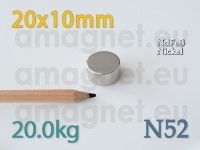 Neodüümmagnet - Ketas 20x10mm [N52]