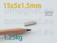 Liimiga neodüümmagnet Plokk 15x5x1.5mm -N