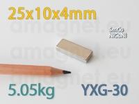 SmCo magnet - Plokk 25x10x4mm [YXG-30]